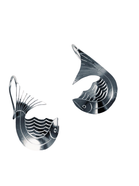SALMON WAVE DANGLE EARRING