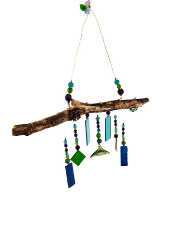 MERMAID WIND CHIME BLUE AND GREEN W/ WHALE TAIL