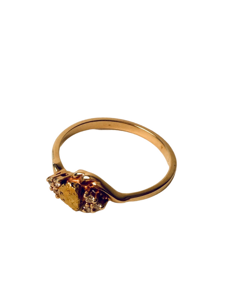 14K NUGGET RING W/ DIAMONDS