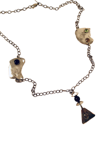 CHAIN NECKLACE W/ GOLDEN RUTILATED QUARTZ, TIGER'S EYE AND TOURMALINE