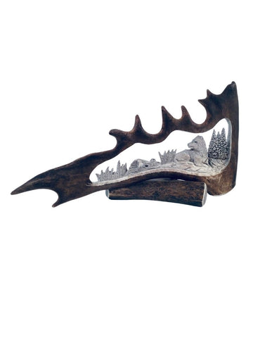 CARVED CARIBOU SHOVEL WOLF