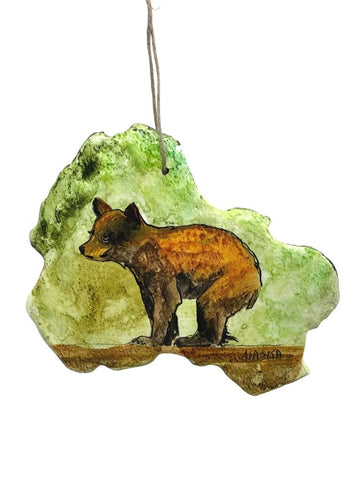 BALANCING BEAR PAINTED BARK ORNAMENT