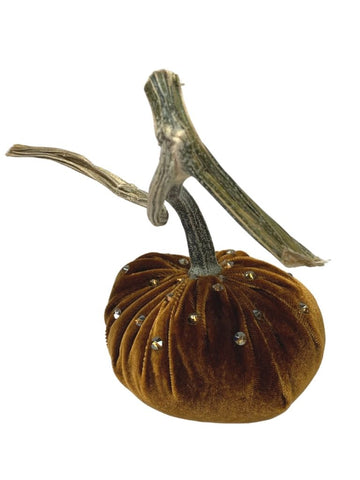 BRONZE VEVLET JEWELED PUMPKIN 4""