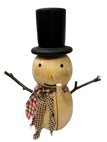 TALL HAT WOODEN SNOWMAN WITH PLAID SCARVES