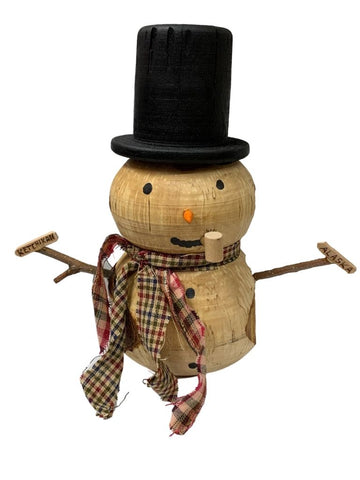 SHORT, ROUND WOODEN SNOWMAN WITH PLAID SCARVES