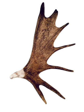 LARGE SOARING EAGLE HANGING ANTLER CARVING