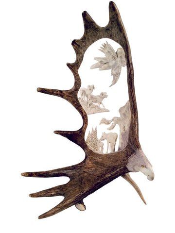 NATURALLY WILD ANTLER CARVING (SHIPPING INCLUDED)