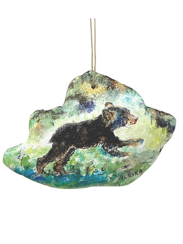 BEAR CUB HAND PAINTED BARK ORNAMENT