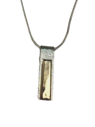 SILVER NECKLACE WITH GOLD BAR ACCENT