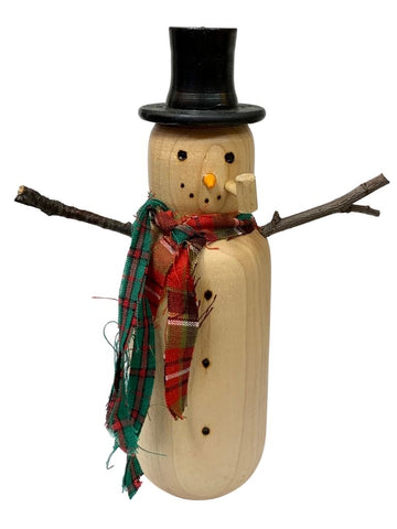 TALL WOODEN SNOWMAN WITH PLAID SCARVES