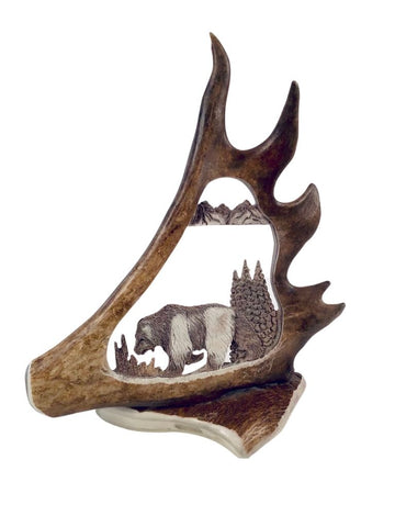 STANDING CARVED CARIBOU SHOVEL WITH BEAR
