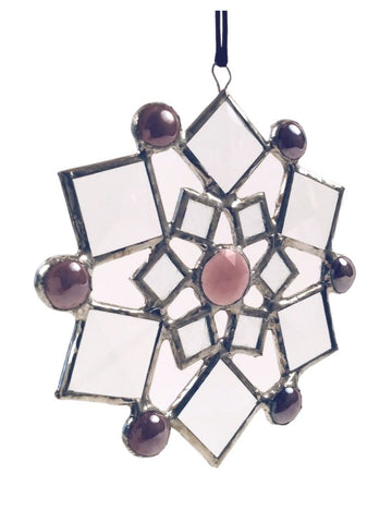 SMALL BEVELED SNOWFLAKE PURPLE MARBLE ACCENTS
