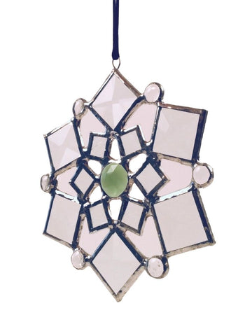 SMALL BEVELED SNOWFLAKE GREEN CENTER