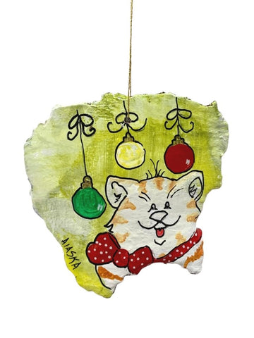 CAT AND ORNAMENTS HAND PAINTED BARK ORNAMENT