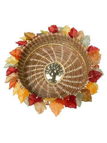 TREE OF LIFE PINE NEEDLE BASKET WITH LEAF BORDER