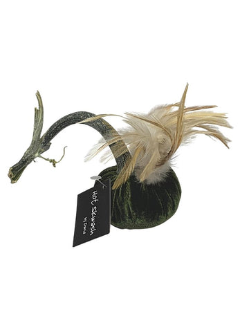 "GREEN PUMPKIN 3"" WITH FEATHER PLUME"