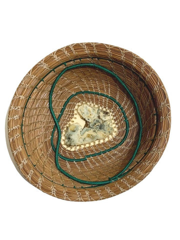 LARGE PINE NEEDLE BASKET WITH GREEN STRIPING AND STONE CENTER