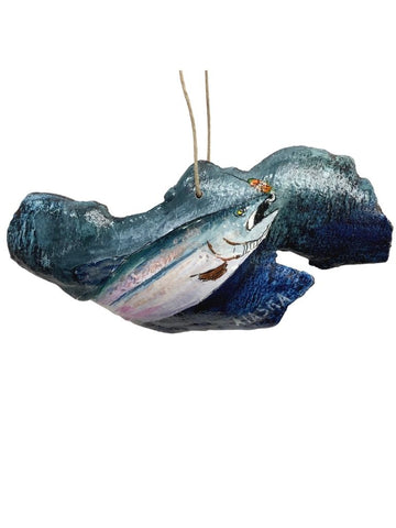 HUNGRY SALMON PAINTED BARK ORNAMENT