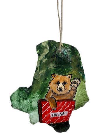 BEAR SAYING HELLO PAINTED BARK ORNAMENT