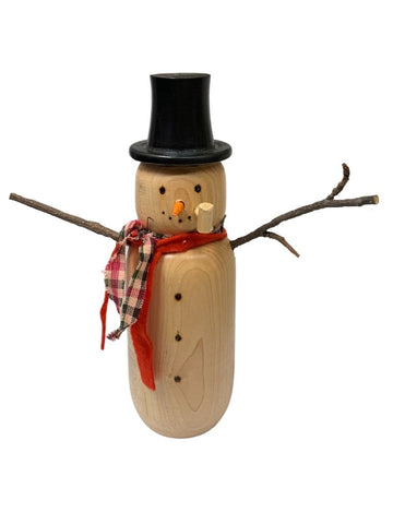 TALL WOODEN SNOWMAN WITH RED AND PLAID SCARVES