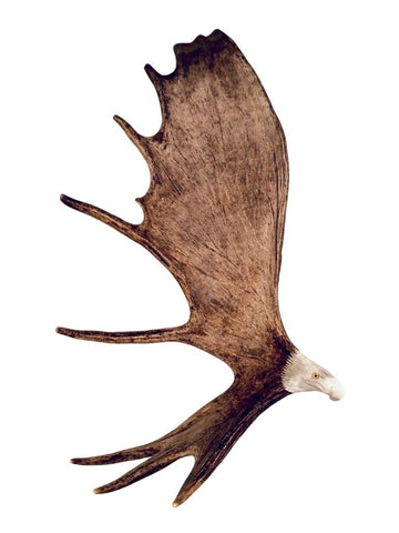 XL SOARING EAGLE HANGING ANTLER CARVING