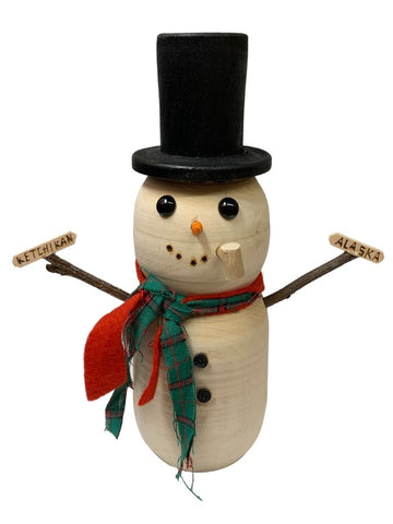 WOODEN SNOWMAN WITH RED AND GREEN SCARVES