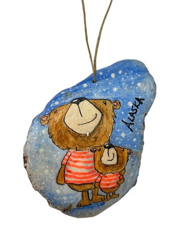 BEAR FAMILY HAND PAINTED BARK ORNAMENT