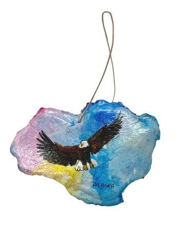 EAGLE IN RAINBOW SKY PAINTED BARK ORNAMENT