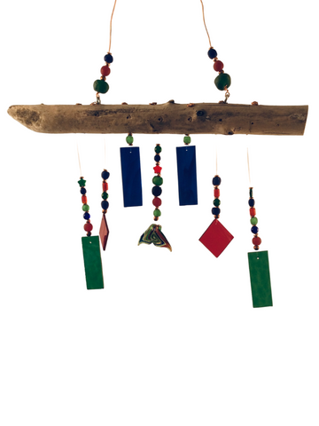 MERMAID WIND CHIME RED BLUE AND GREEN, W/ WHALE TAIL