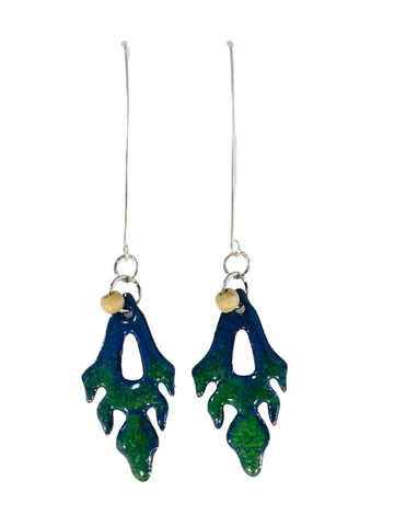 BLUE AND GREEN ORGANIC DROP ENAMEL EARRINGS WITH BEADS