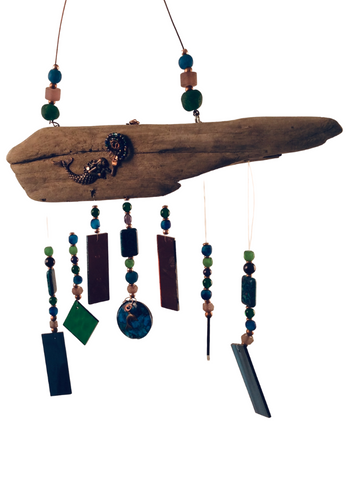 MERMAID WIND CHIME PEACOCK COLORS W/ MERMAID
