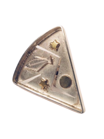 HALIBUT TRIANGLE TIE TAC PIN WITH 14K GOLD