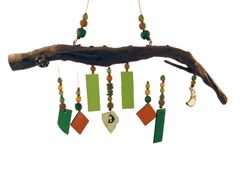 MERMAID WIND CHIME ORANGE & GREEN, MOON THEME