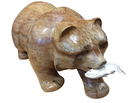 "BEAR WALKING WITH FISH 18"" SHIPPING INCLUDED"