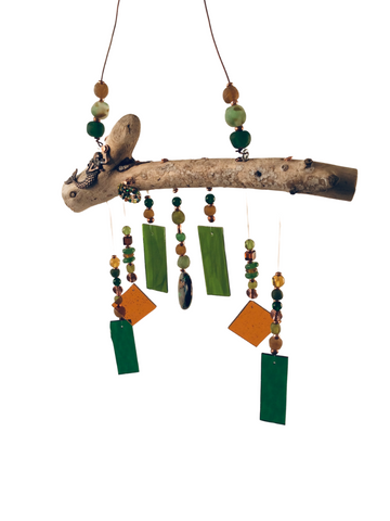 MERMAID WIND CHIME ORANGE & GREEN W/ MERMAID CHARM