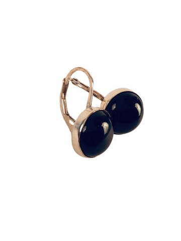 BLACK ONYX LEVERBACK EARRINGS