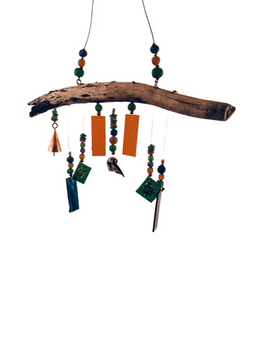 MERMAID WIND CHIME ORANGE BLUE AND GREEN W/ WHALE TAIL