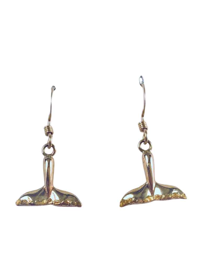 WHALE TAIL WITH GOLD NUGGETS DANGLE EARRINGS