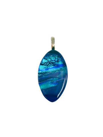 BLUE LAYERS OVAL 2 GLASS PENDANT