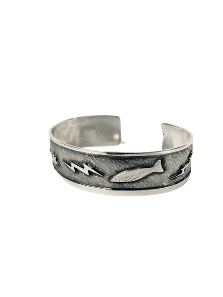 SALMON, STAR, MOON, AND LIGHTENING STERLING CUFF BRACELET