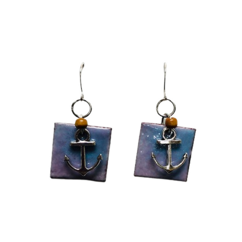 SIMPLE SQUARE WITH CHARM ENAMEL EARRINGS