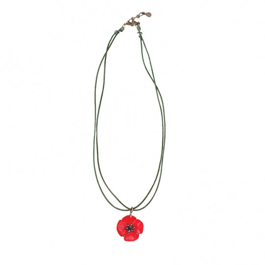 RED POPPY PENDANT ON LEATHER CHORD