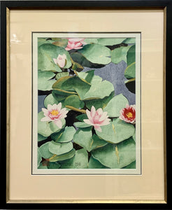THE WATER LILLIES BLOOM FRAMED ORIGINAL