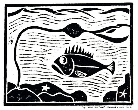 GO WITH THE FLOW WOOD BLOCK PRINT