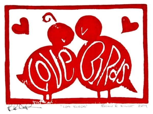 LOVE BIRDS WOOD BLOCK RED
