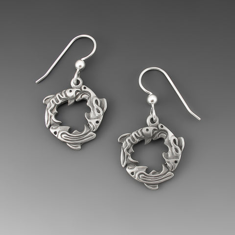 SALMON SPIRIT PEWTER EARRINGS