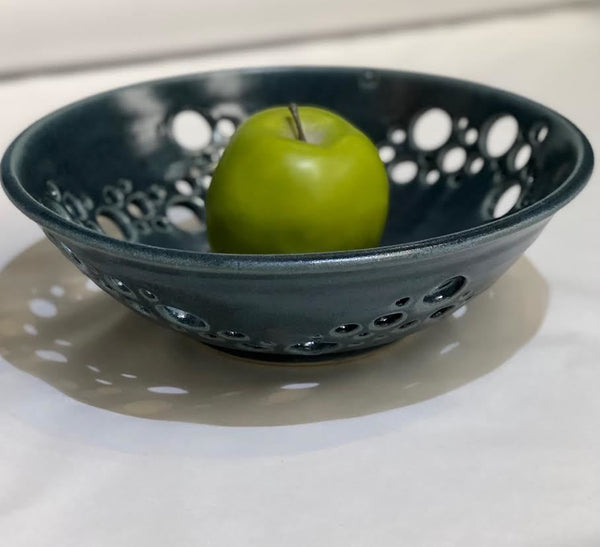 BLUE PIERCED SERVING BOWL