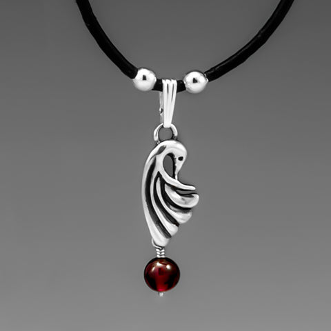 CRANE WING GARNET PENDANT ON LEATHER CHORD