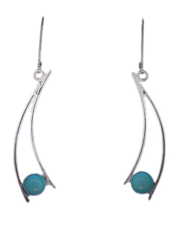 TURQUOISE CURVED EARRINGS