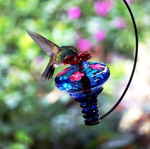 HANDPAINTED MINI-BLOSSOM HANGING HUMMINGBIRD FEEDER (ASSORTED COLORS)